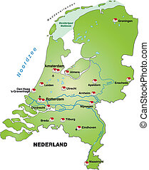 Map of Netherlands as an infographic in green