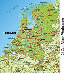 Map of Netherlands with highways
