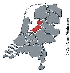 Political map of Netherlands with the several states where Flevoland is highlighted.