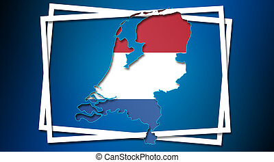 Map of Netherlands land border with flag in white frames