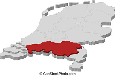 Map of Netherlands, North Brabant highlighted - Political ...