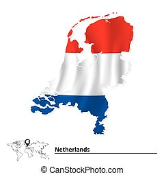 Map of Netherlands with flag