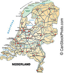 Map of Netherlands with highways in pastel orange