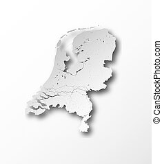 Map of Netherlands with lakes and rivers.