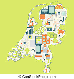 Map of Netherlands with technology