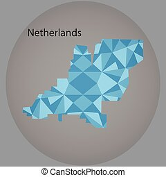 map of Netherlands,low polygon