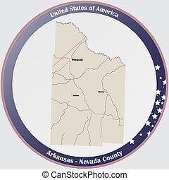 Map of Nevada County in Arkansas