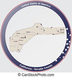 Map of Nevada County in California