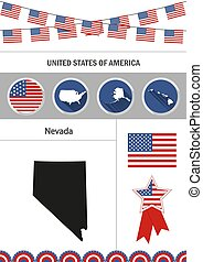Map of Nevada. Set of flat design icons nfographics elements wit