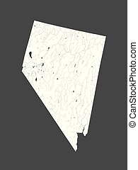 U.S. states - map of Nevada. Hand made. Rivers and lakes are shown. Please look at my other images of cartographic series - they are all very detailed and carefully drawn by hand WITH RIVERS AND LAKES.