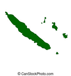 New Caledonia - Map of New Caledonia, isolated on white ...