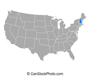 Map of New Hampshire in USA