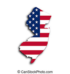 Map of New Jersey filled with the national flag