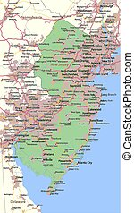 Map of New Jersey. Shows state borders, urban areas, place names, roads and highways. Projection: Mercator.