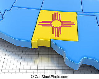 Map of New Mexico state with flag.