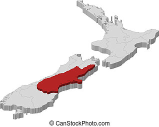 Political map of New Zealand with the several regions where Canterbury is highlighted.