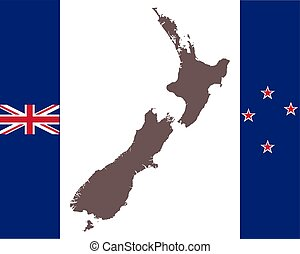 Map of New Zealand on background with flag