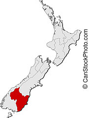 Map of New Zealand, Otago highlighted - Political map of New...