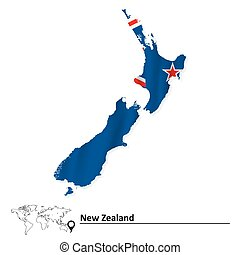 Map of New Zealand with flag
