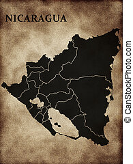 Map of Nicaragua on the old background