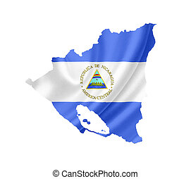 Map of Nicaragua with waving flag isolated on white