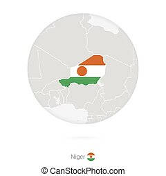 Map of Niger and national flag in a circle. Niger map...