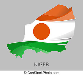 Map of Niger - Map Of Niger With Flag As Texture Isolated On...