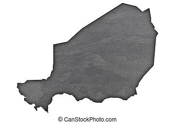 Map of Niger on dark slate