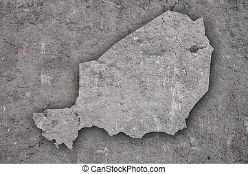 Map of Niger on weathered concrete
