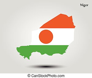 Map of Niger. Vector illustration. World map