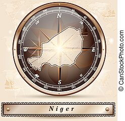 Map of Niger with borders in bronze