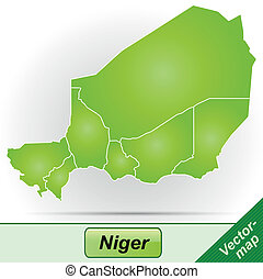 Map of Niger with borders in green
