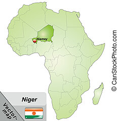Map of Niger with main cities in green