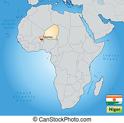 Map of Niger with main cities in pastel orange