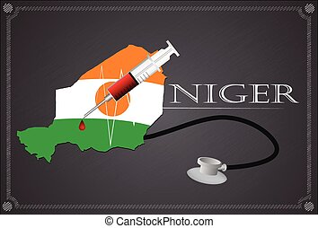 Map of  Niger with Stethoscope and syringe.