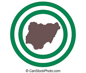Map of Nigeria on background with flag