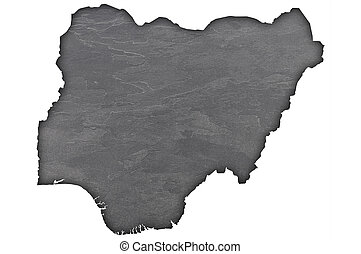 Map of Nigeria on dark slate
