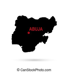 Map of Nigeria, the capital of black on white background.