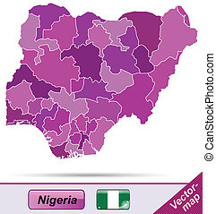 Map of Nigeria with borders in violet
