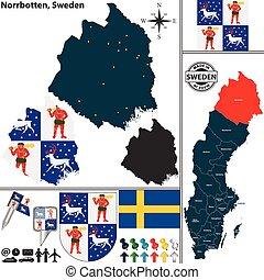 Map of Norrbotten, Sweden