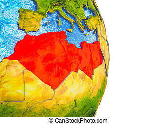 Map of North Africa on 3D Earth