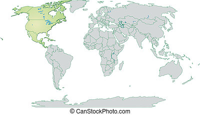 Map of North America and the World with borders in pastel...