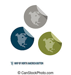 Map of North America Button