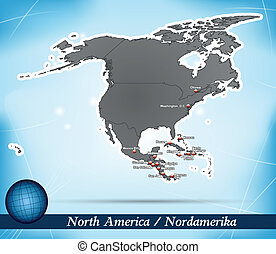 Map of North America with abstract background in blue