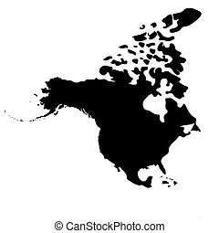 Map of North America on a white background