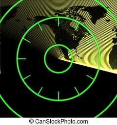 Map of North America on the radar