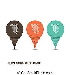 Map of North America Pointer - Vector Illustration - ...