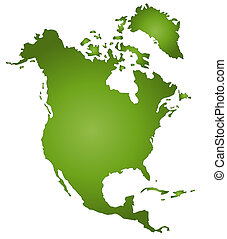 Map Of North America - An outlined map of North America. All...