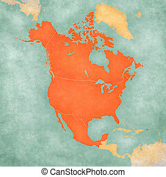 North america map with flags of the usa, canada and mexico ...