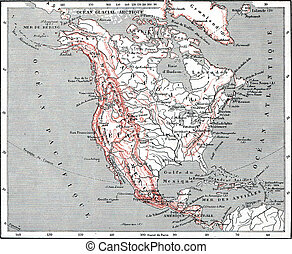 Map of North America, vintage engraving.